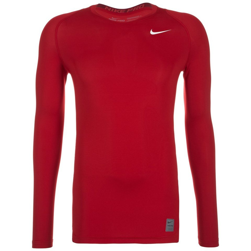 NIKE Pro Dry Compression Trainingsshirt Herren in rot / weiß