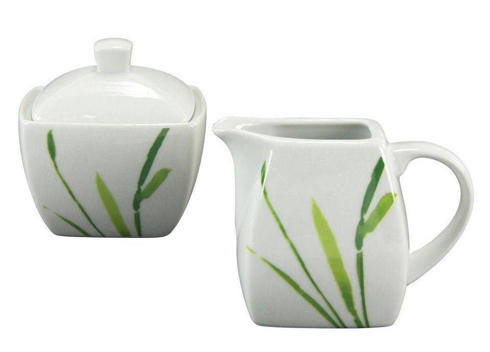 CreaTable Milch/Zucker-Set Porzellan 2tlg., »Amelie Gräser« in weiß/grün