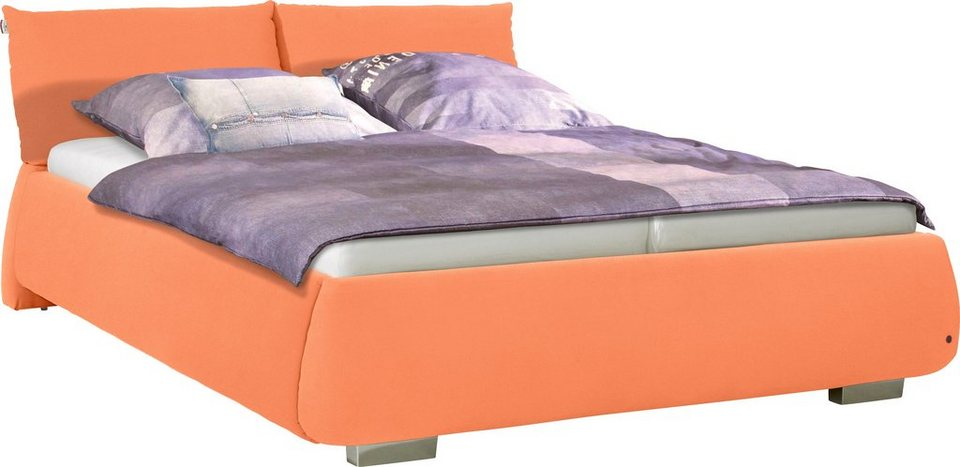 TOM TAILOR Polsterbett »SOFT PILLOW«, Web & Velours, ohne Print in orange TAS 17