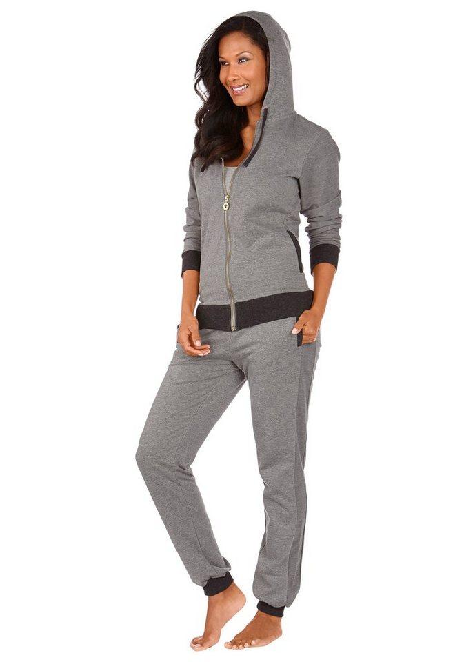 ARIZONA Sweatjacke mit Kapuze & seitlichen Eingrifftaschen in grau meliert