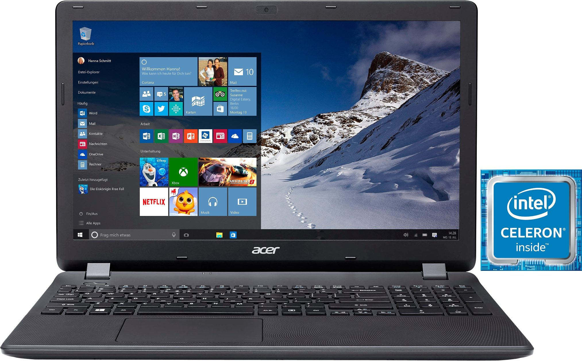 Acer Aspire ES1-531-C8QS Notebook, Intel® Celeron™, 39,6 cm (15,6 Zoll), 500 GB Speicher