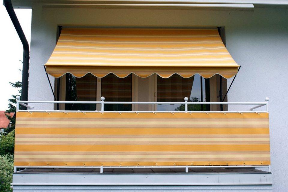 Klemmmarkise, beige-orange, gestreift in orange