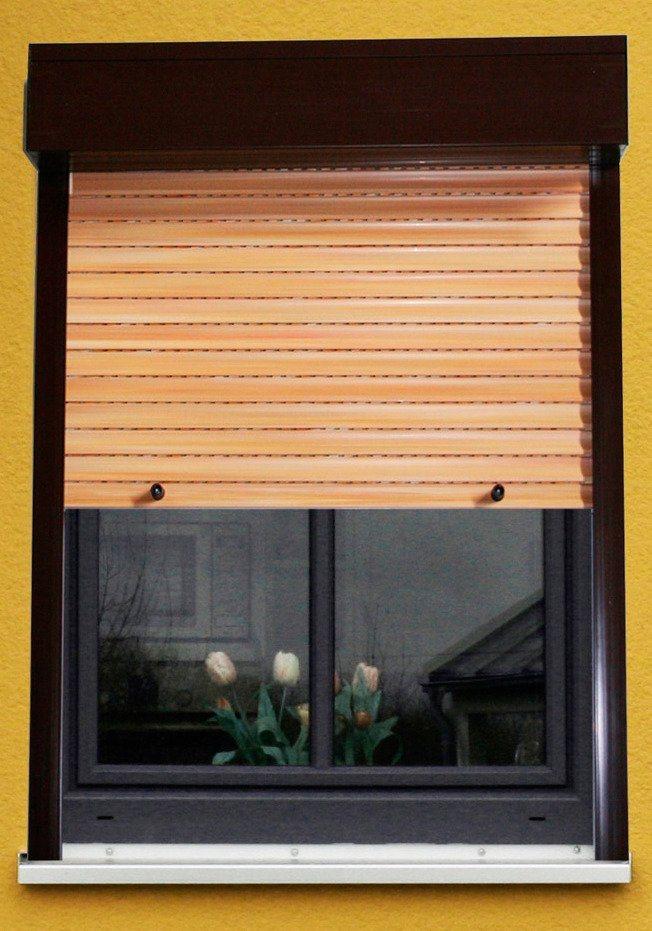 Kunststoff »Vorbau-Rollladen« Festmaß, BxH: 110x220 cm, holzfarben-braun in holzfarben/braun
