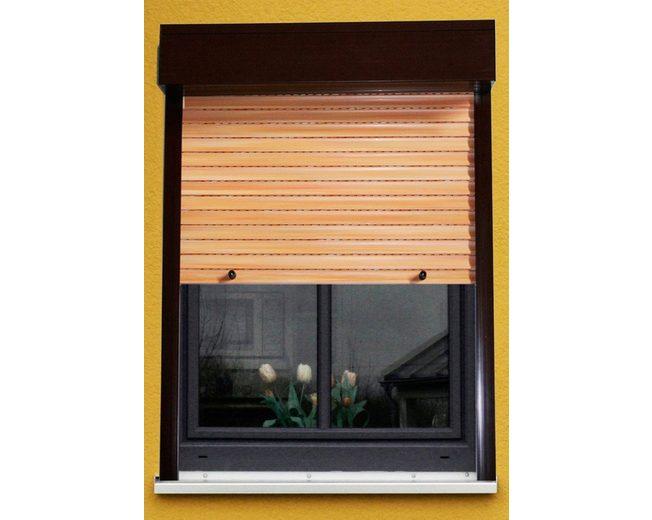 Kunststoff »Vorbau-Rollladen« Festmaß, BxH: 120x150 cm, holzfarben-braun