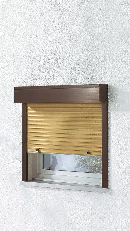 Kunststoff »Vorbau-Rollladen« Festmaß, BxH: 100x130 cm, holzfarben-braun in holzfarben/braun
