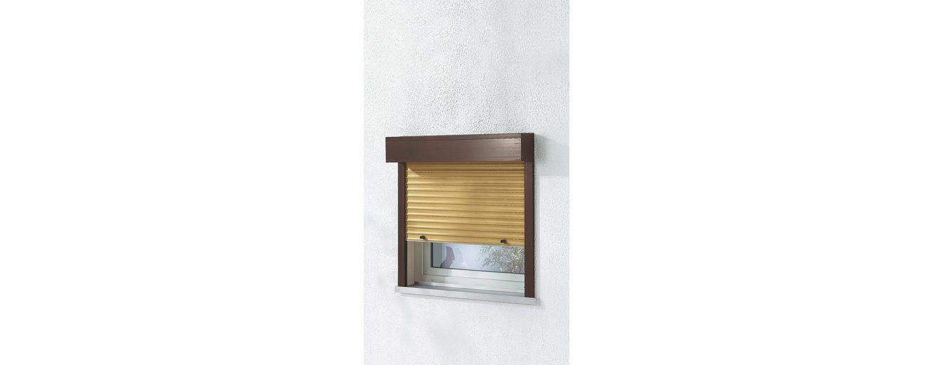Kunststoff-Rollladen »Sondermaß Breite, Höhe: 235 cm« Thermo-Kunststofflamellen, holzfarben