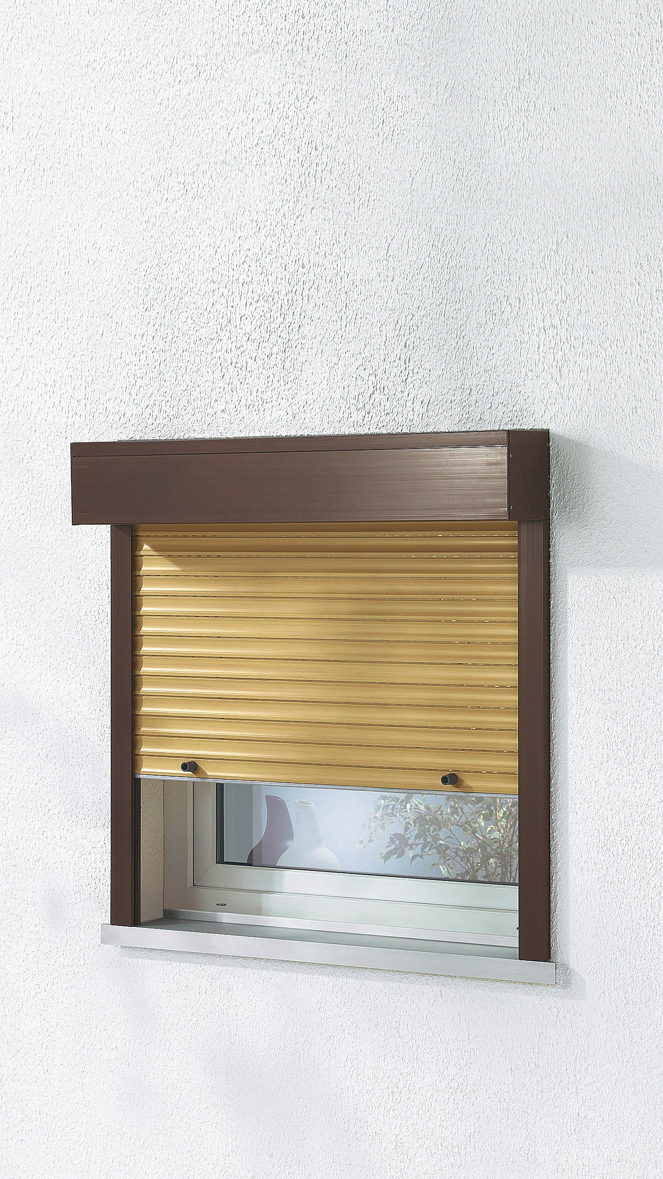 Kunststoff »Vorbau-Rollladen« Festmaß, BxH: 140x150 cm, holzfarben-braun