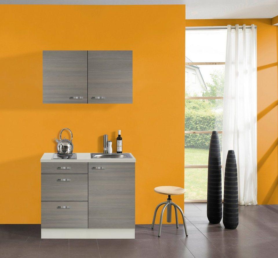 Küchenzeile »Vigo«, Breite 100 cm in nougatfarben/champagnerfarben