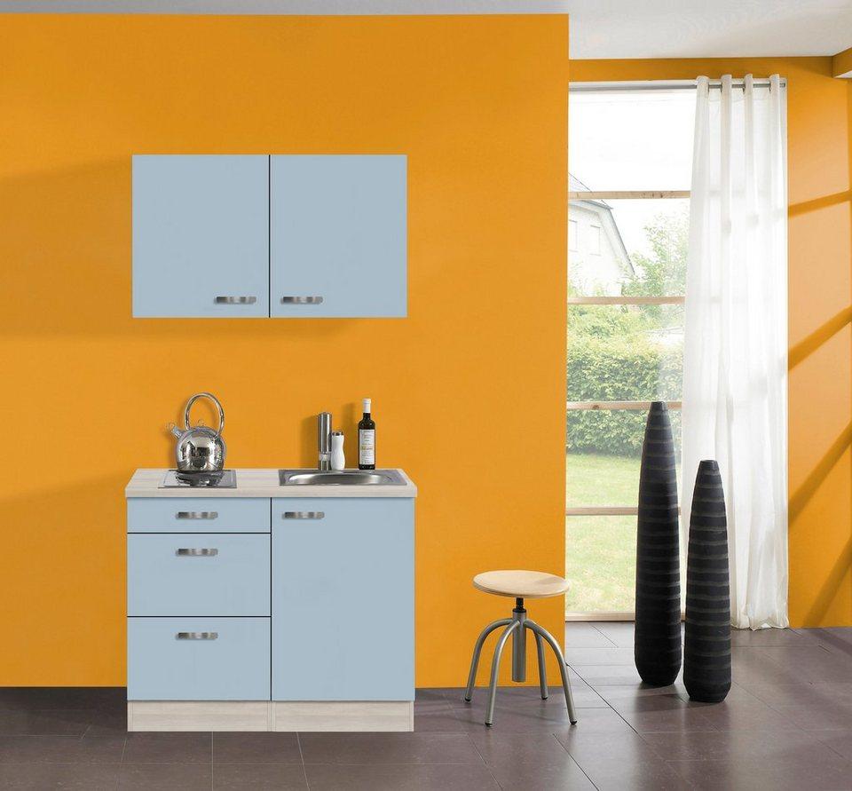 Küchenzeile »Skagen«, Breite 100 cm in akaziefarben/blau