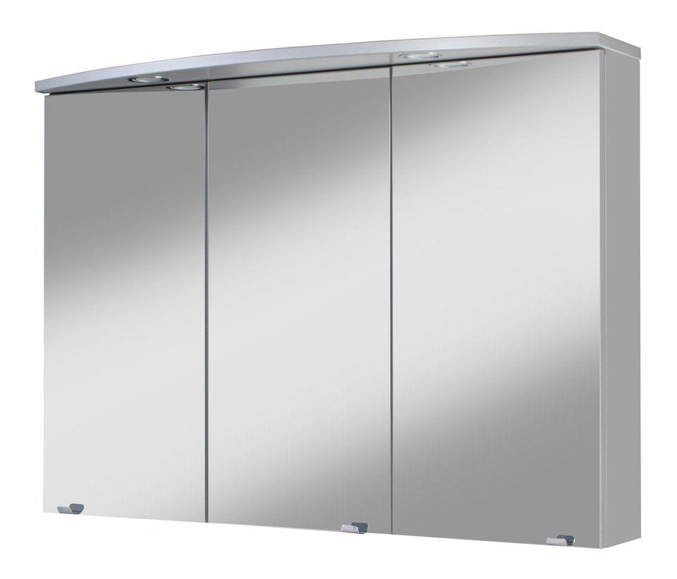 Spiegelschrank »Hörnum« Breite 100 cm, mit Beleuchtung in aluminiumfarben