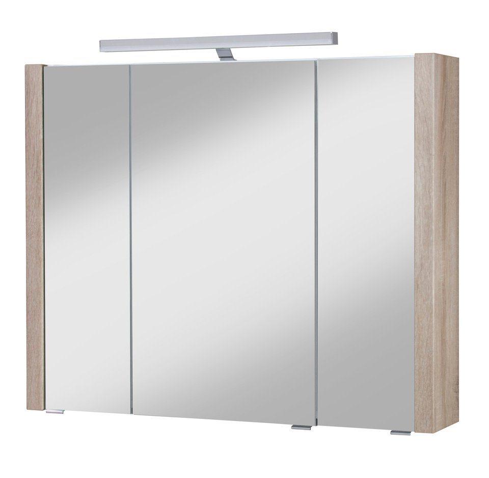 Schildmeyer Spiegelschrank »Tico« Breite 87,6 cm, mit Beleuchtung in eichefarben sonoma