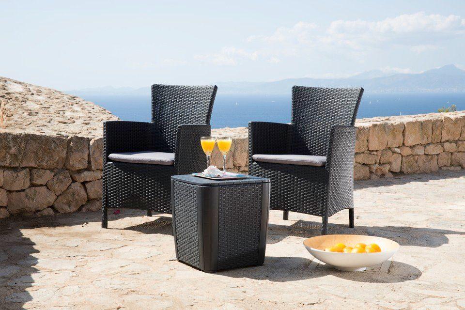 Best 5-tgl. Gartenmöbelset »Lowa«, 2 Sessel, Beistelltisch 39x39 cm, Kunststoff, anthrazit