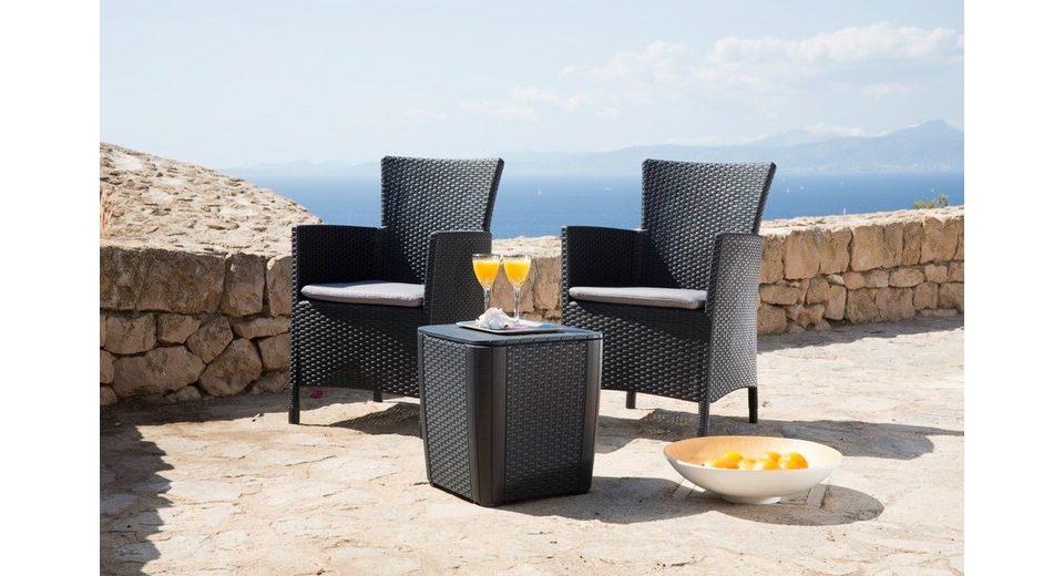 5-tgl. Gartenmöbelset »Lowa«, 2 Sessel, Beistelltisch 39x39 cm, Kunststoff, anthrazit