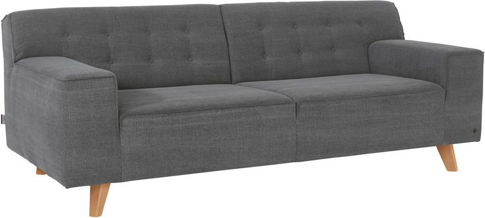 TOM TAILOR 2-Sitzer Sofa »NORDIC CHIC« im Retrolook, Füße Buche natur in graphite TUS 9