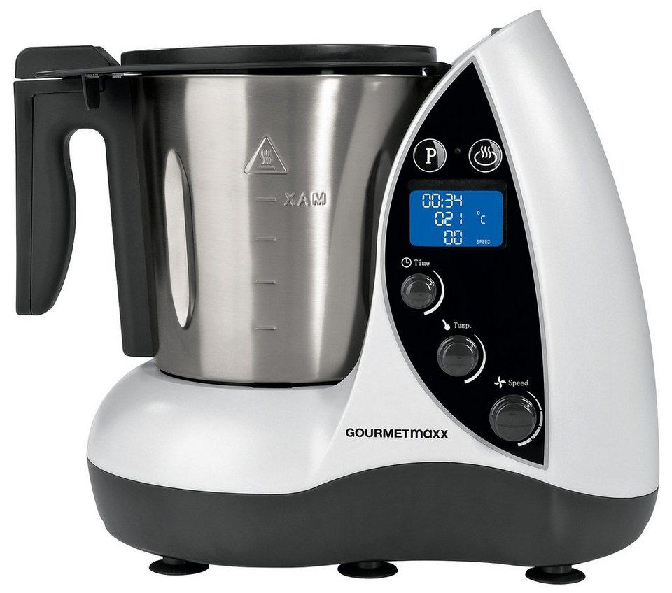 gourmetmaxx Küchenmaschine Thermo Multikocher 9in1, 2 Liter, 1500 Watt in weiß-silber-schwarz