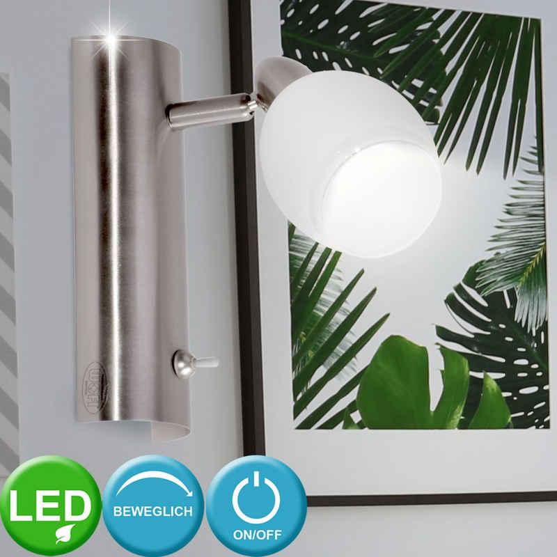 WOFI Wandleuchte, LED Wand Leuchte Glas weiß lackiert 1-flg Nickel matt WOFI 4301.01.64.0000