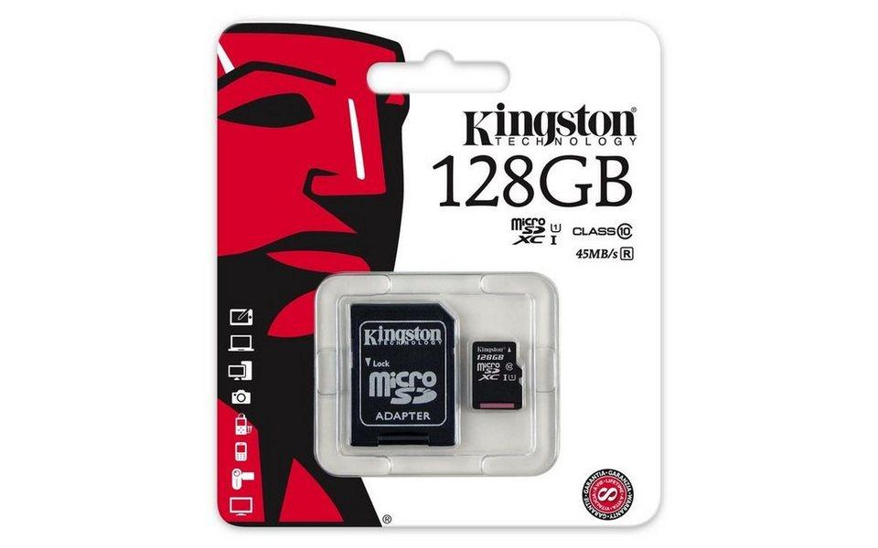 Kingston Speicherkarte »microSDHC CardClass 10 UHS-1 mit SD Adapter, 128GB« in Schwarz