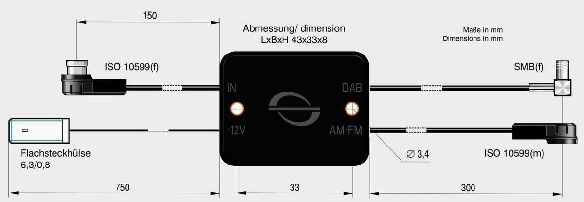 Antenne Bad Blankenburg Rundfunkverstärker + Splitter »AM/FM ISO(m) u. DAB+ SMB(f)«