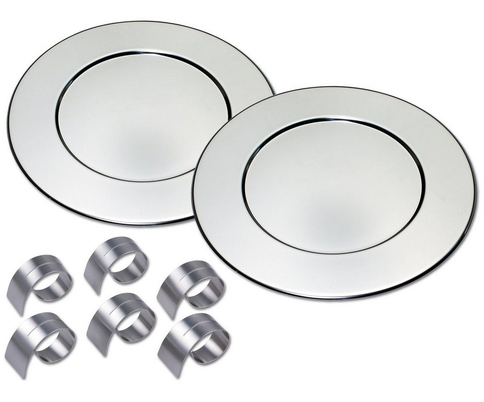 CHG Platzteller-Set incl. 6 Serviettenringe in silberfarben