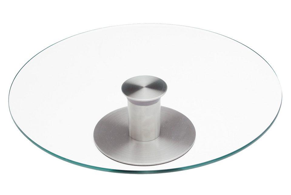 Drehbare Tortenplatte aus Edelstahl und Glas, CHG