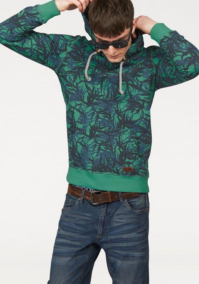 John Devin Kapuzensweatshirt Alloverprint in grün-blau-bedruckt