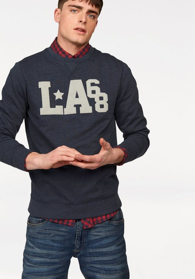 John Devin Sweatshirt mit Applikation in blau-meliert
