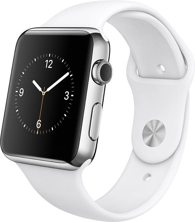 Apple Watch 38mm mit Edelstahlgehäuse in Silber/Weiß