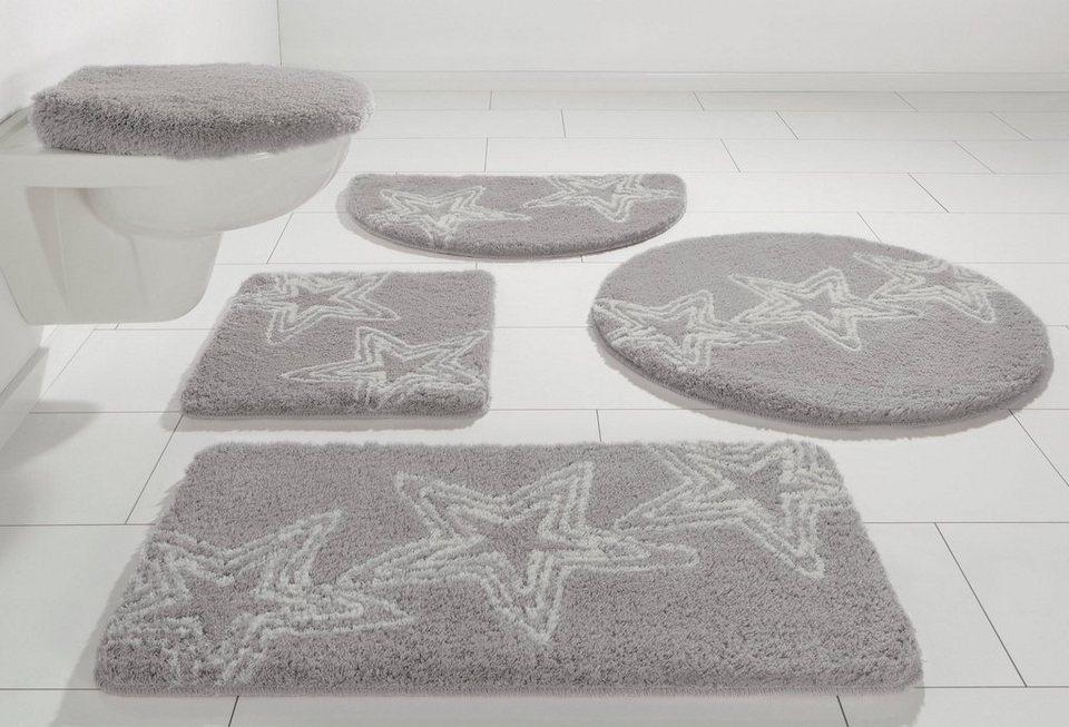 Badematte, Hänge WC-Set, my home, »Florence«, Höhe 20 mm, rutschhemmender Rücken, mit Stern-Motiven in greige