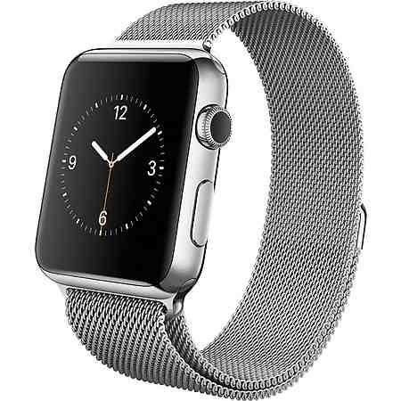 Apple Watch 42mm mit Edelstahlgehäuse, Milanaise Armband, 4,2 cm (1,65 Zoll) Display, watchOS 2