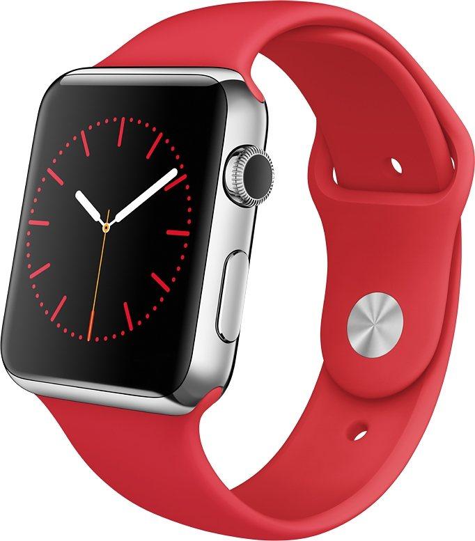 Apple Watch 42mm mit Edelstahlgehäuse in Silber/Rot