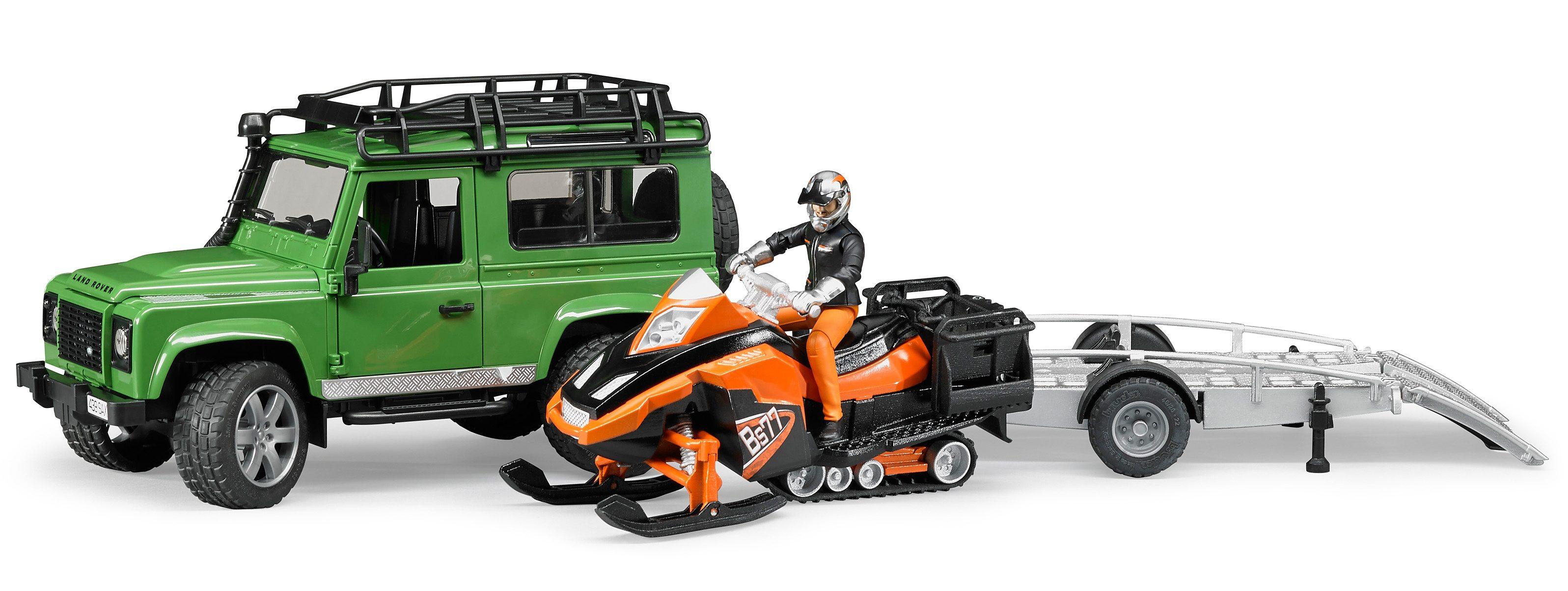 bruder® Spielzeugauto-Set 4-tlg., »Land Rover Defender Station Wagon, Anhänger, Snowmobil u. Fahrer«