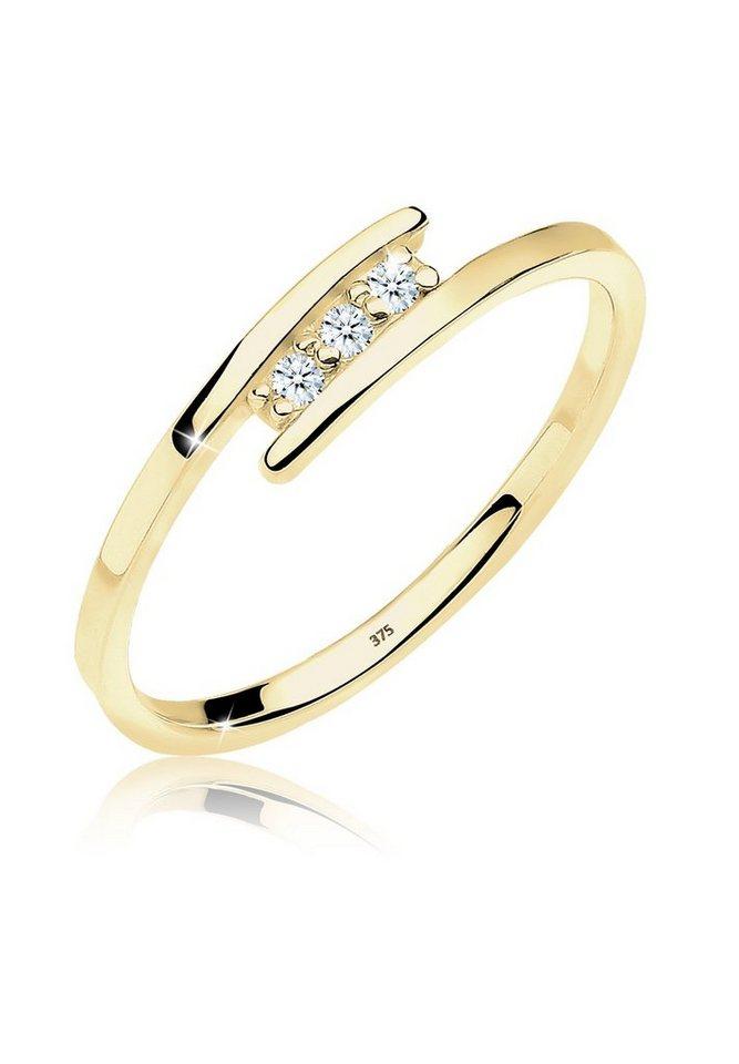 DIAMORE Ring »Verlobungsring Diamant 375 Gelbgold« in Weiß