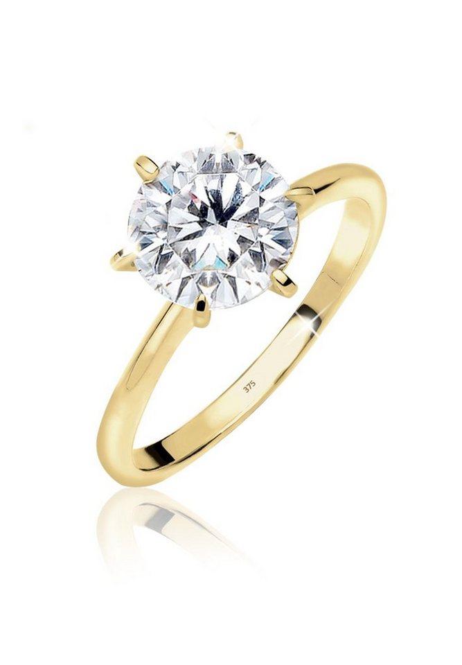 Elli Ring »Verlobung Solitärring Zirkonia 375 Gelbgold« in Weiß
