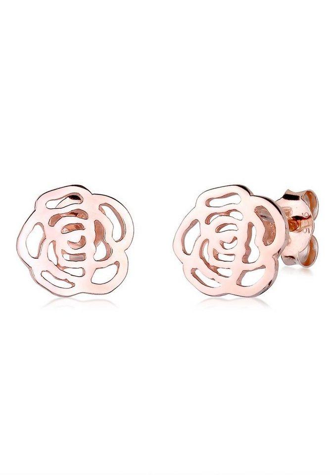 Elli Ohrringe »Rose Blume Cut Out Floral Romantik rosé vergoldet« in Rosegold