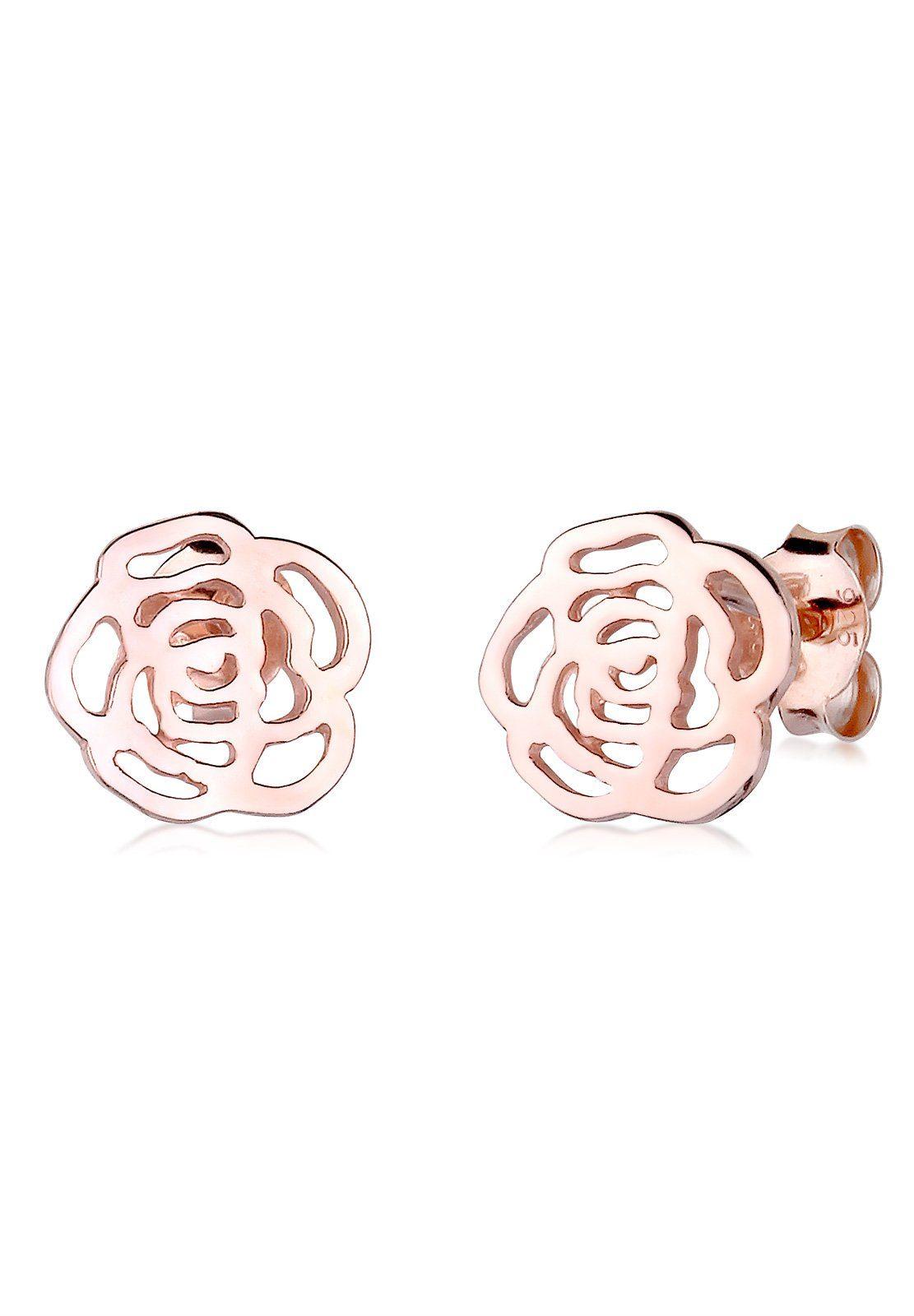 Elli Ohrringe »Rose Blume Cut Out Floral Romantik rosé vergoldet«