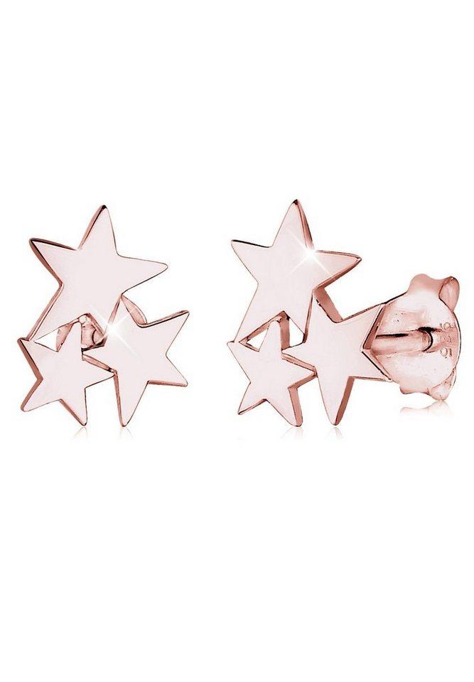 Elli Ohrringe »Sterne Stern Astro Trend Filigran rosé vergoldet« in Rosegold