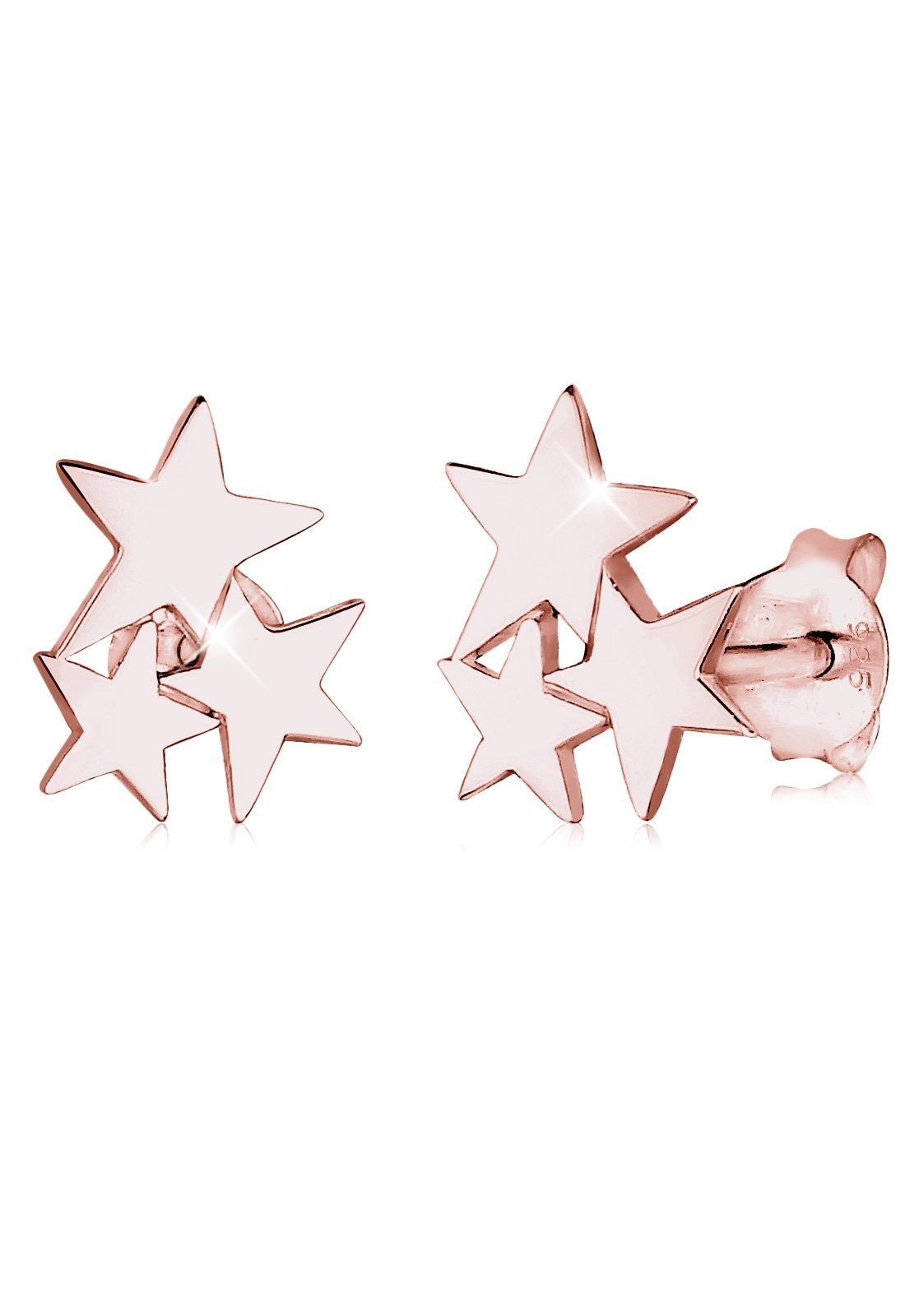 Elli Ohrringe »Sterne Stern Astro Trend Filigran rosé vergoldet«