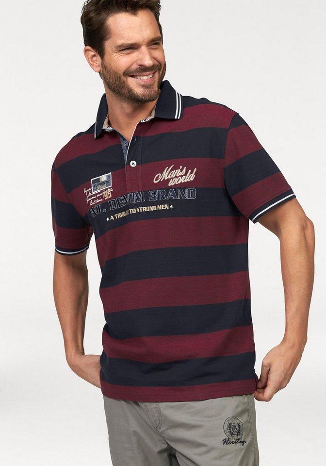 Man's World Poloshirt in Piqué-Qualität in weinrot-nachtblau-gestreift