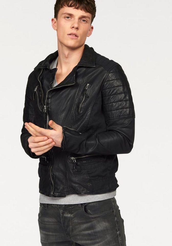 absurd Lederjacke mit seitlichen Textileinsätzen in schwarz