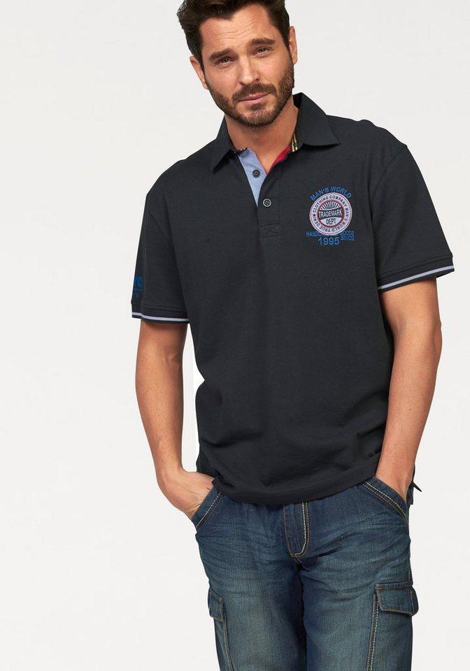 Man's World Poloshirt in Piqué-Qualität in dunkelblau
