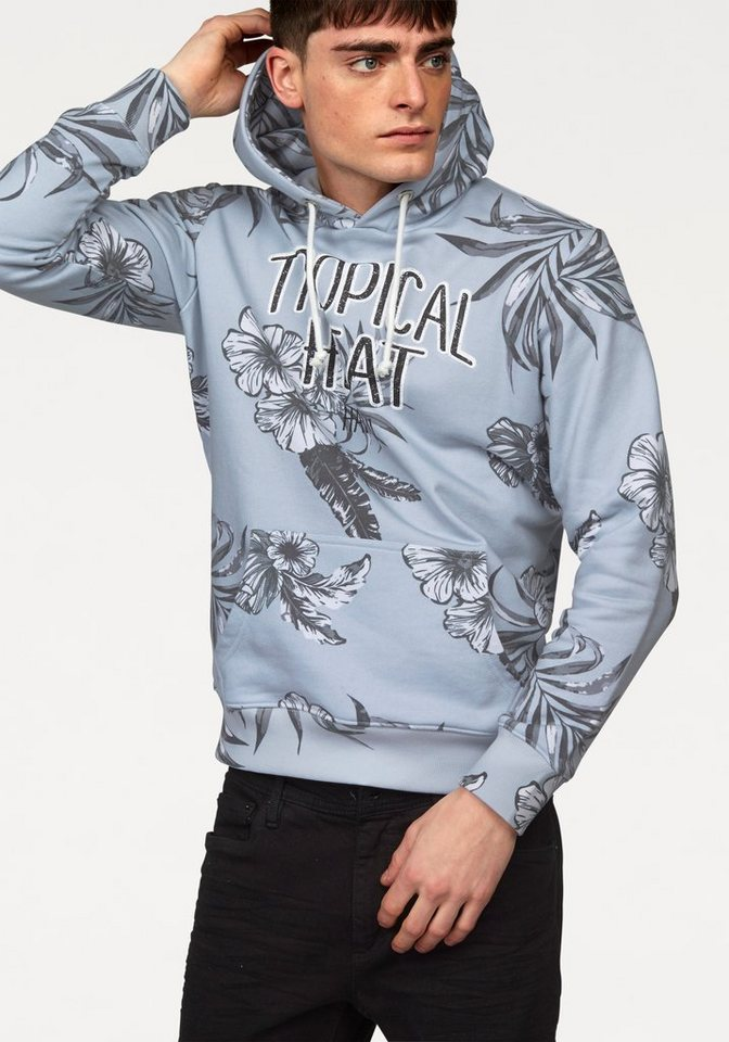 John Devin Kapuzensweatshirt mit Allover Druck in grau-bedruckt