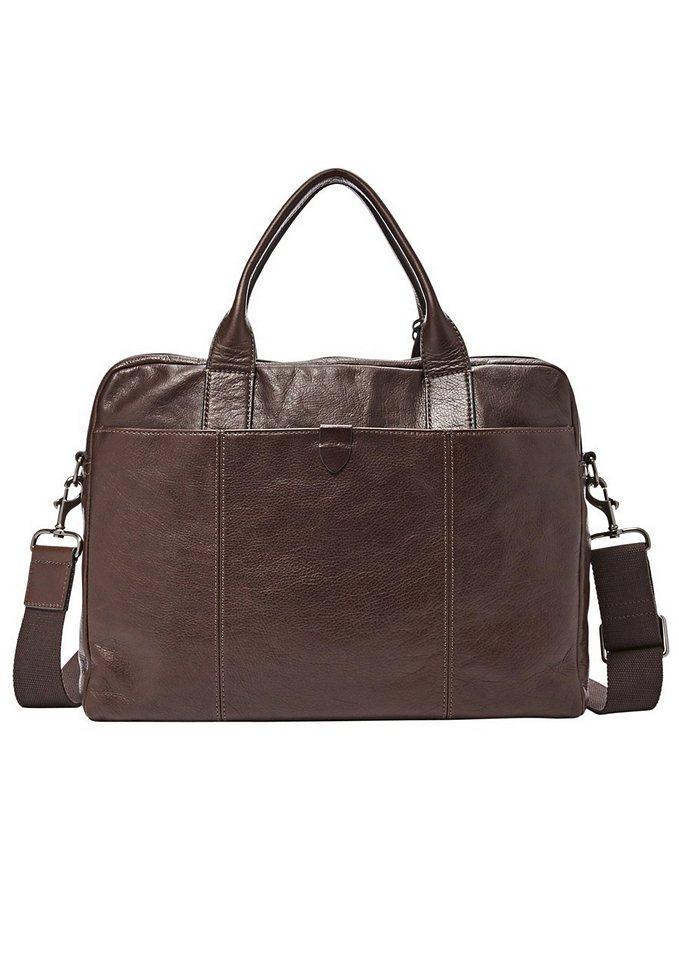 Messenger Bag »WYATT TOP ZIP WORKBAG« aus Leder in dunkelbraun