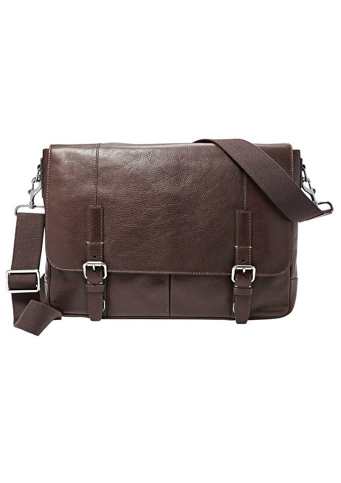 Fossil Messenger Bag »GRAHAM« aus Leder in dunkelbraun