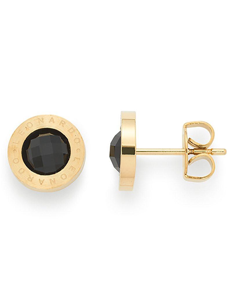Jewels by Leonardo Ohrschmuck: Paar Ohrstecker mit Glassteinen, »matrix gold/schwarz, 015788«