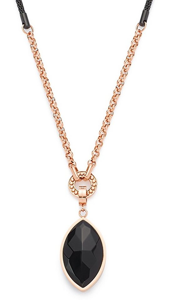Jewels by Leonardo Halskette: Kette mit Einhänger mit Glasstein, »scudo, 015673« in roségoldfarben/schwarz