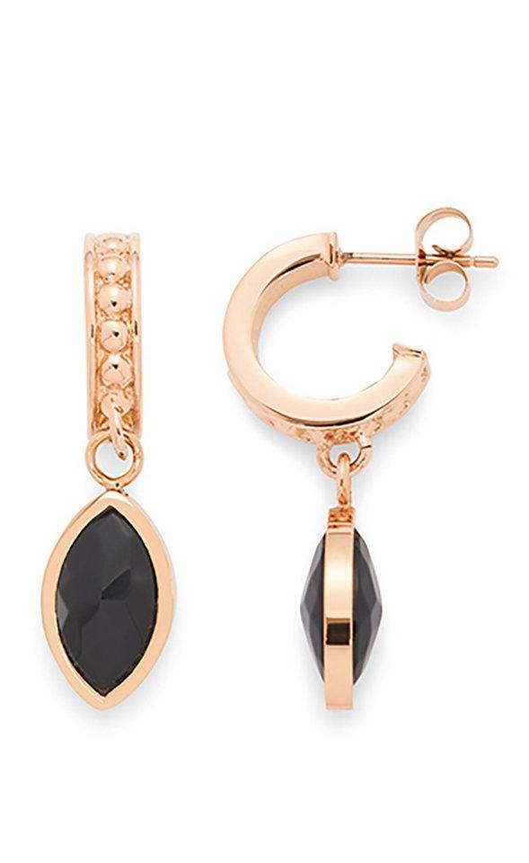 Jewels by Leonardo Ohrschmuck: Paar Ohrstecker mit Glassteinen, »scudo, 015674« in roségoldfarben/schwarz
