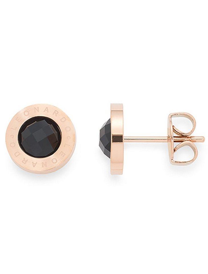 61b87ac584ff LEONARDO Paar Ohrstecker »015790, roségold schwarz Matrix« mit Glassteinen