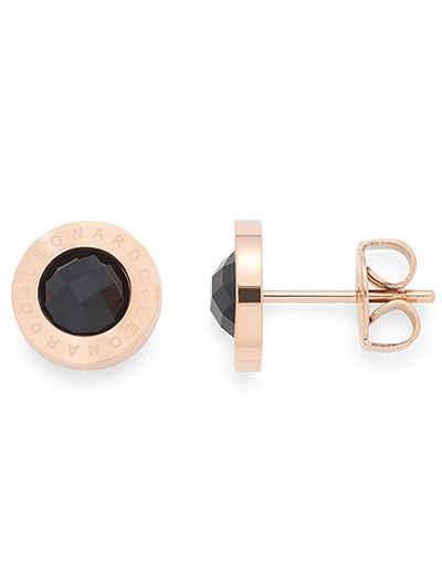 LEONARDO Paar Ohrstecker »015790, roségold/schwarz Matrix«, mit Glassteinen
