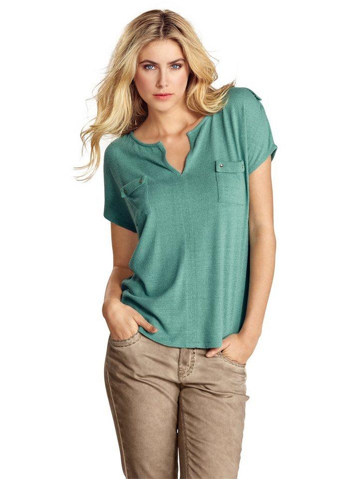 Blusenshirt in smaragd