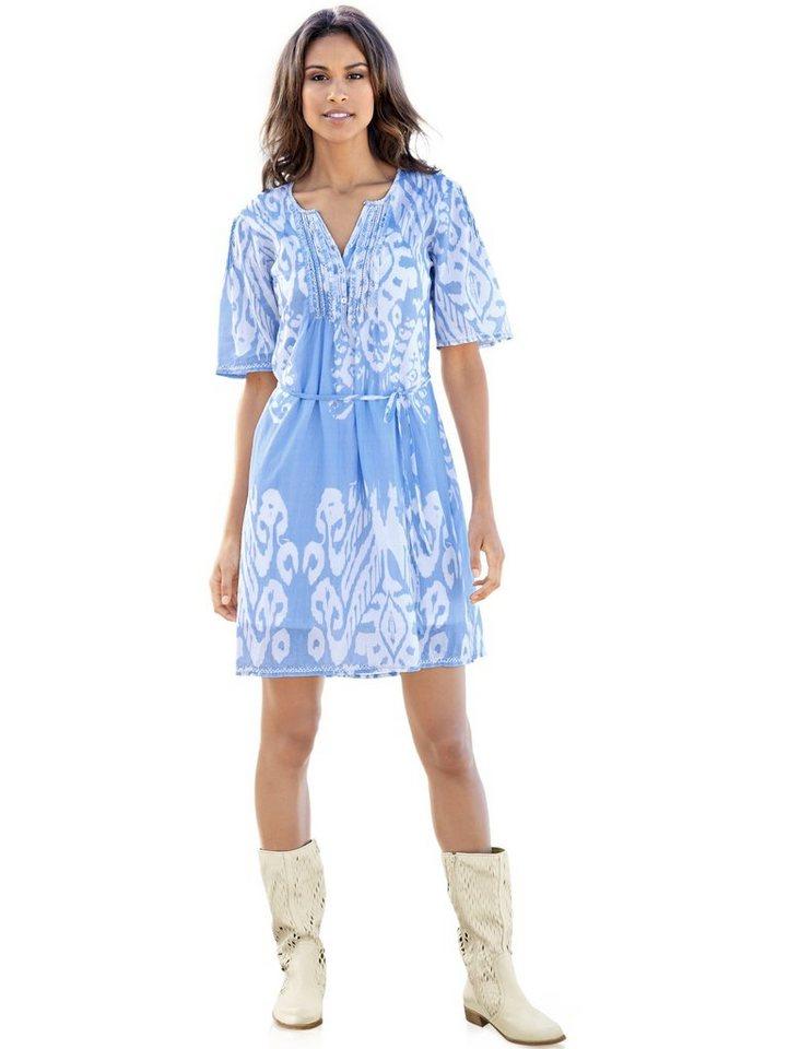 Hemdblusenkleid in bleu/weiß